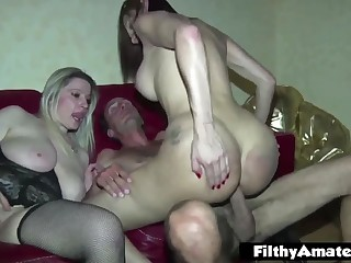 With the Milfs and the shemale! Nasty amateur orgy!