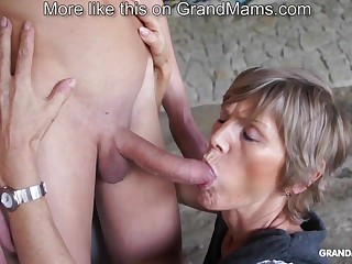 Horny old cougar tapes up the brush young toyboy and sucks him retire from