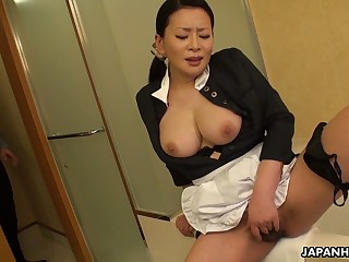 This Asian maid knows how helter-skelter relieve stress at work and her boobies are superb