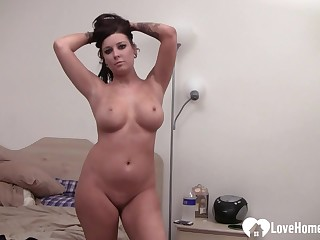 Well-Rounded chick with great chunks gets naked