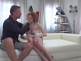 Nerdy redhead with natural boobies Candy In flames is brutally fucked by Rocco