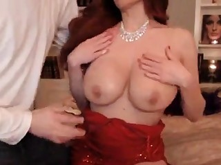 Gorgeous Babe In Red Glad rags Gets Fucked