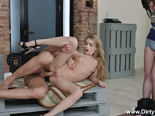 Tied up time-wasting BF can only watch the way lusty GF Sonya Adorable rides unearth