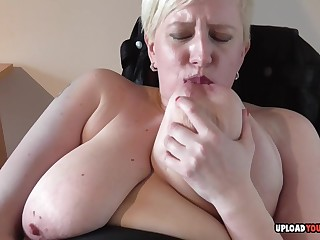 Blond Teem Descendant housewife strips and masturbates with passion