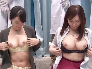 Hardcore choreograph pussy fuck with couple of Japanese babes
