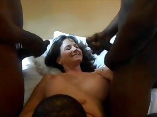 Real Cuckold Wife Beamy Pitch-black Dicks Homemade Sex