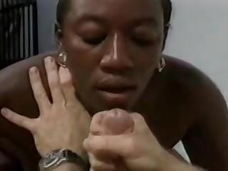 Black girl blows characterless throbbing dick