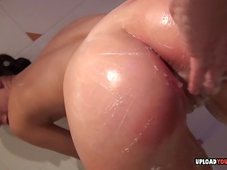Beauty here along to shower touches her juicy vagina