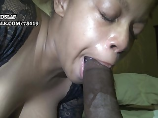 Dominate unconscionable mom sucking with an increment of deepthroating BBC for cum load