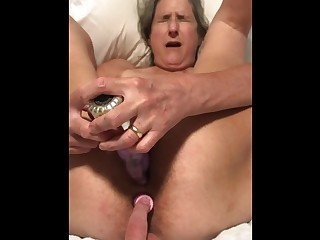 60 Year old Granny mature Matur Ass Sex Dildo Play Tied up getting Ready to Swell out