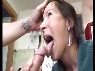 Hot milf give handjob blowjob to a big dick and get huge facial