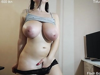 My busty aunt plays with black vibrator