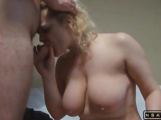 Heavy-Breasted Blue-eyed Housewife Gets Her Tight Rear Drilled