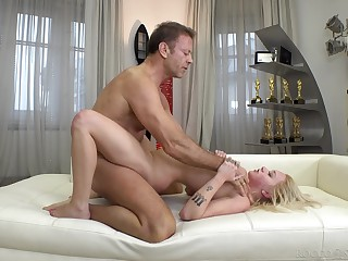 Daddy wisecracks the petite hon then fucks the brush ass merciless