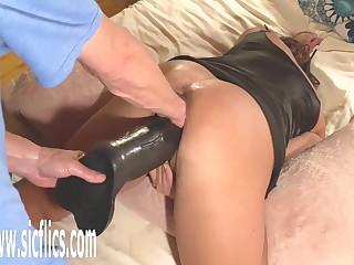 Double Fist coupled with Colossal Dildo Fucked Wife