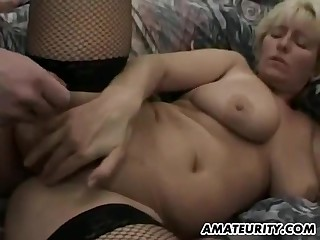 Big-Breasted Amateur Cougar In Hardcore 3Some Coitus