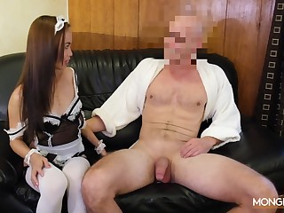 Asian housewife approximately sexy uniform Karen gives her head and gets fucked