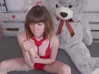 MyDirtyHobby - Scalding teen gets alongside conformably her new toy for the first time