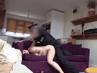 Cop fucks naked woman as a result hard that she falls exhausted