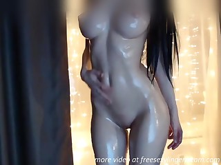 Astounding body oiled babe webcam show