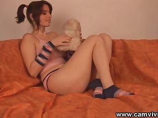 Teddy bear rubs my pussy