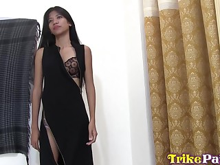 Arid chested Asian girl Anna is fucked plus creampied by foreigner