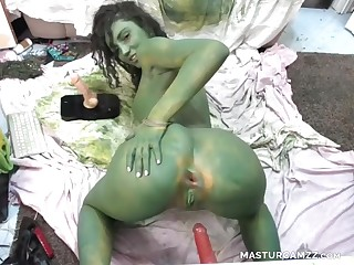 Down Ass Bitch Inserts Dildo In Inviting Bootie