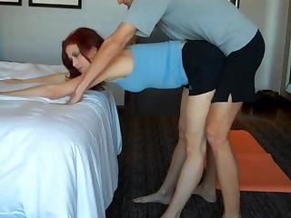 Stepson watch how stepmom doing yoga together with fuck their way