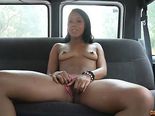 Ebony slut fucked in bus