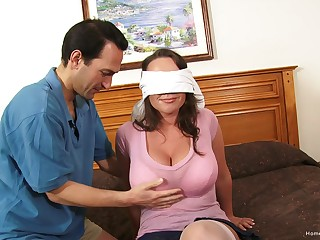 Blind-folded wife expectations will not hear of first home gangbang