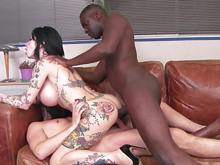 Interracial DP be beneficial to an inked-up slut